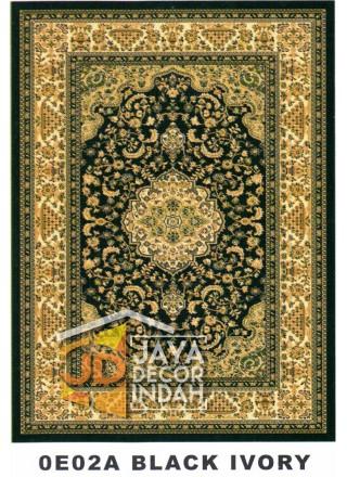 Karpet Permadani Kashan Istanbul 0E02A Black Ivory