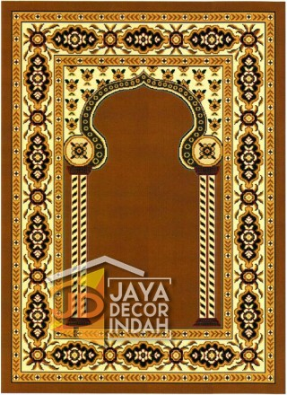 Cairo Imam Motif 3 Gold - Sajadah Imam / Masjid / Mushola / Karpet Lantai Permadani / Bulu / Tebal 80 Cm X 120 Cm Polypropylene Pilar Bunga Cream