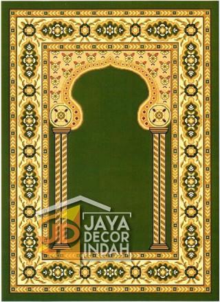 Cairo Imam Motif 3 Green - Sajadah Imam / Masjid / Mushola / Karpet Lantai Permadani / Bulu / Tebal 80 Cm X 120 Cm Polypropylene Pilar Bunga Cream