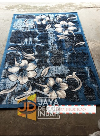 Karpet Permadani Khasan Carving 8087A_S Blue Black 120x160, 160x230, 200x300, 240x340