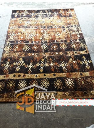 Karpet Permadani Khasan Carving XA40A_D Brown Black 120x160, 160x230, 200x300, 240x340