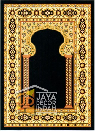 Cairo Imam Motif 3 Black - Sajadah Imam / Masjid / Mushola / Karpet Lantai Permadani / Bulu / Tebal 80 Cm X 120 Cm Polypropylene Pilar Bunga Cream