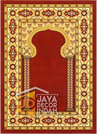 Cairo Imam Motif 3 Red - Sajadah Imam / Masjid / Mushola / Karpet Lantai Permadani / Bulu / Tebal 80 Cm X 120 Cm Polypropylene Pilar Bunga Cream