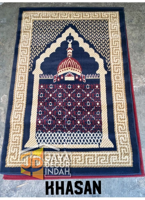 Istanbul Al Azim Khasan Motif Mosque Blue - Sajadah Imam / Masjid / Mushola / Karpet Lantai Permadani / Bulu / Tebal 80 Cm X 120 Cm