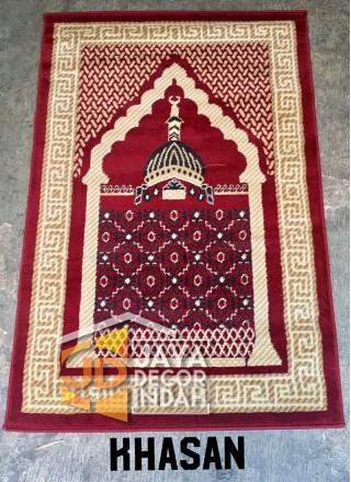 Istanbul Al Azim Khasan Motif Mosque Red - Sajadah Imam / Masjid / Mushola / Karpet Lantai Permadani / Bulu / Tebal 80 Cm X 120 Cm