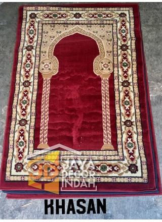 Istanbul Al Azim Khasan Motif Pilar Red - Sajadah Imam / Masjid / Mushola / Karpet Lantai Permadani / Bulu / Tebal 80 Cm X 120 Cm
