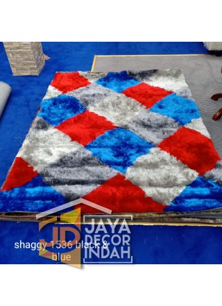Karpet Shaggy Veronica 1536 Black & Blue Ukuran 100x150, 150x200, 200x300