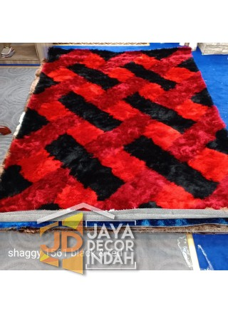 Karpet Shaggy Veronica 1561 Black & Red ukuran 100x150, 150x200, 200x300